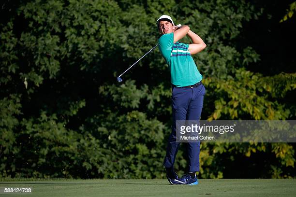 Jamie Lovemark plays his shot from the 12th tee during the first round of the John Deere Classic at TPC Deere Run on August 11 2016 in Silvis Illinois