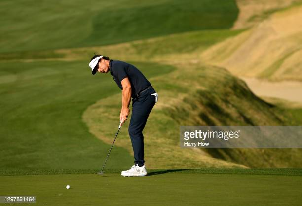 Jamie Lovemark putts on the 16th green during the second round of The American Express tournament on the Stadium course at PGA West on January 22,...