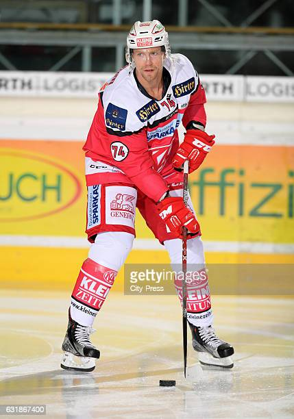 Jamie Lundmark of EC KAC handles the puck during the action shot September 29 2016 in Dornbirn Austria