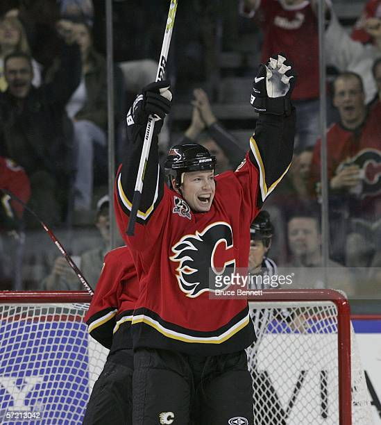 Jamie Lundmark of the Calgary Flames celebrates after scoring a first period goal against the Los Angeles Kings on March 29 2006 at the Pengrowth...