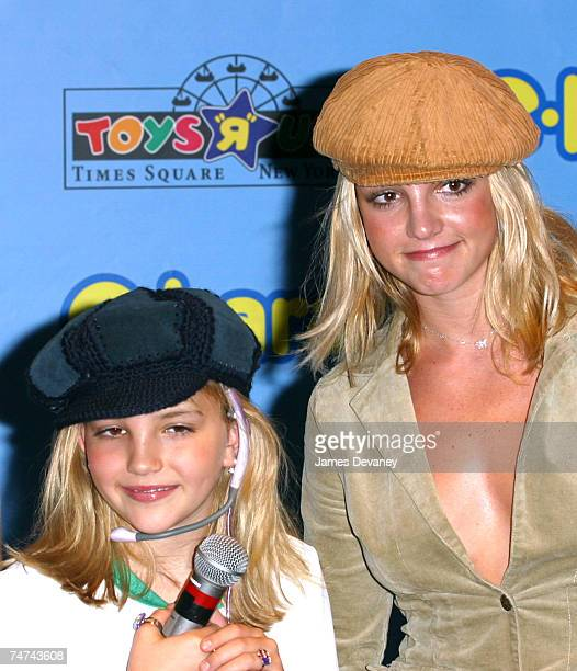 Jamie Lynn Spears and Britney Spears at the Toys R Us Times Square in New York City New York