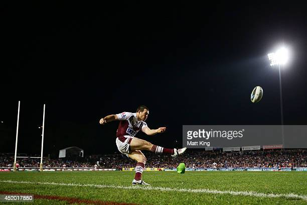 Jamie Lyon of the Sea Eagles attempts a conversion during the round 18 NRL match between the Manly Warringah Sea Eagles and the Wests Tigers at...