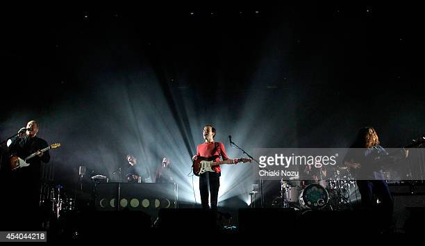 Jamie MacColl Jack Steadman Suren de Saram and Ed Nash of Bombay Bicycle Club perform on Day 2 of the Reading Festival at Richfield Avenue on August...