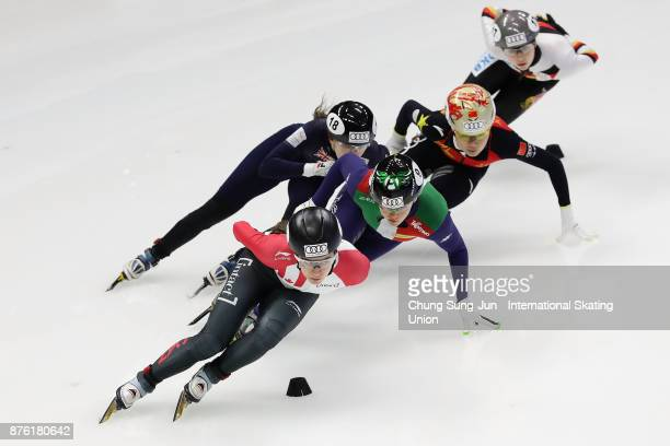 Jamie Macdonald of Canada Yutong Han of China and Arianna Fontana of Italy compete in the Ladies 1000m Quarterfinals during during the Audi ISU World...