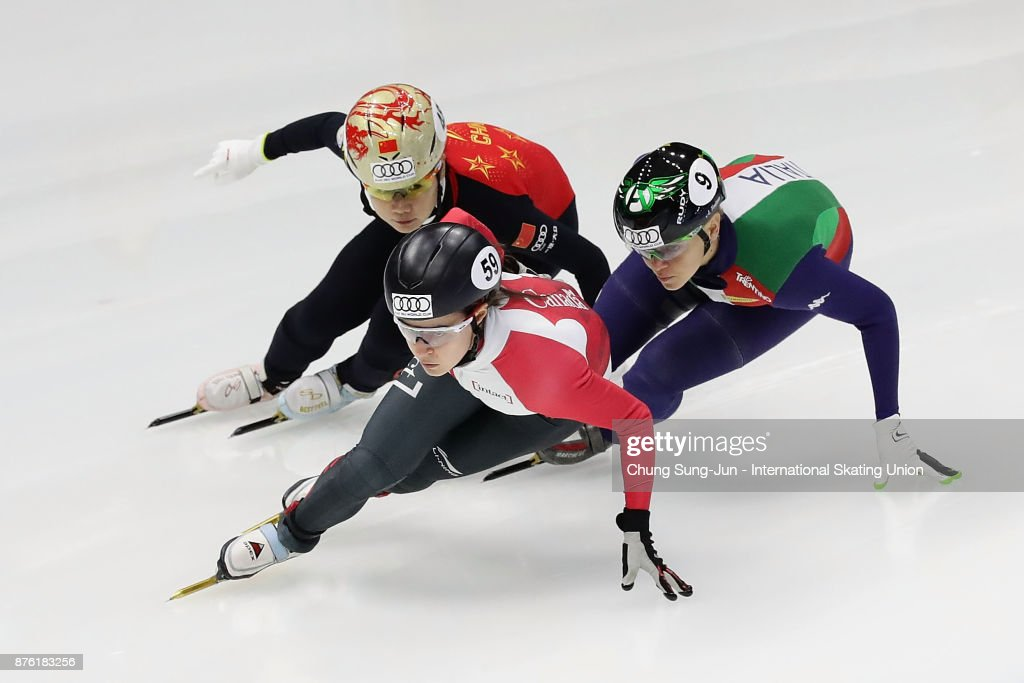 Jamie Macdonald of Canada, Yutong Han of China and Arianna Fontana of Italy compete in the Ladies 1000m Quarterfinals during during the Audi ISU World Cup Short Track Speed Skating at Mokdong Ice Rink on November 19, 2017 in Seoul, South Korea.