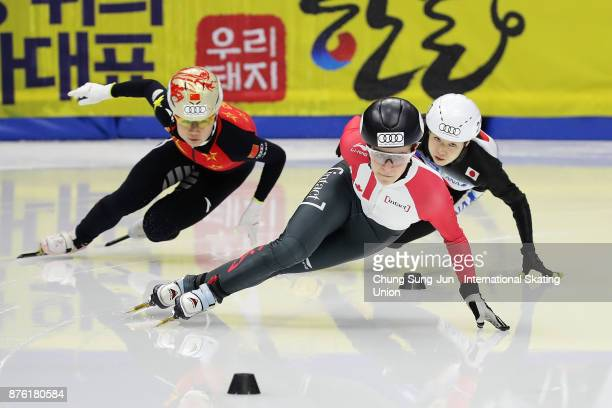 Jamie Macdonald of Canada Yutong Han of China and Hitomi Saito of Japan compete in the Ladies 1000m Final B during the Audi ISU World Cup Short Track...