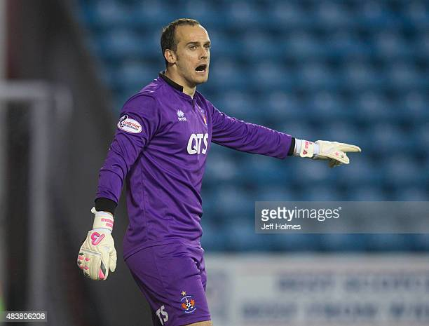 Jamie Macdonald of Kilmarnock in action during the Scottish premiership match between Kilmarnock and Celtic at Rugby Park on August 12 2015 in...