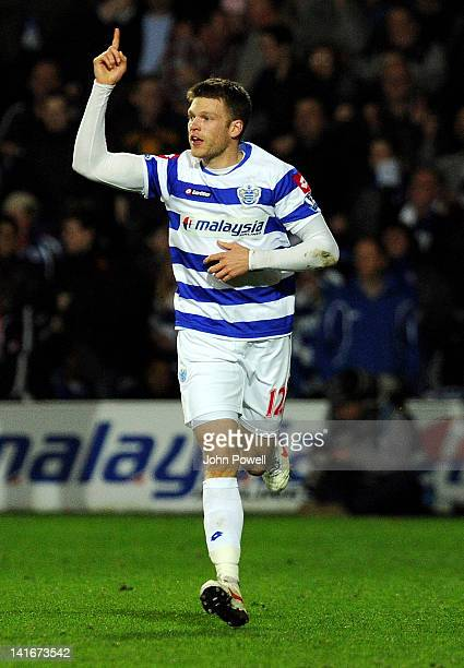 Jamie Mackie of Queens Park Rangers celebrates after scoring the winner during the Barclays Premier League match between Queens Park Rangers and...