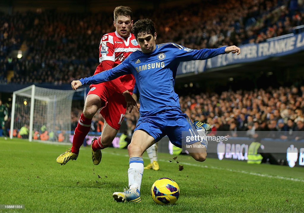 Jamie Mackie of Queens Park Rangers closes down Oscar of Chelsea during the Barclays Premier League match between Chelsea and Queens Park Rangers at Stamford Bridge on January 2, 2013 in London, England.