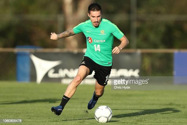 Jamie Maclaren during a Australian Socceroos training session at Lion FC Stadium on November 13 2018 in Brisbane Australia