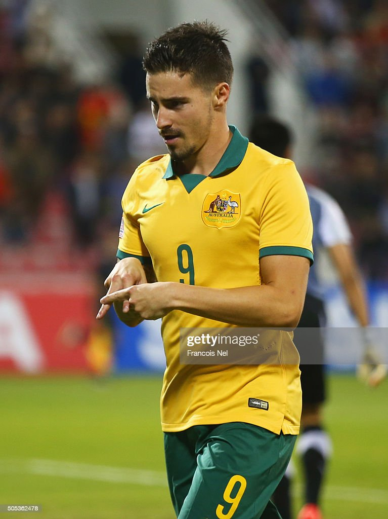 Jamie Maclaren of Australia celebrates as he scores their second goal during the AFC U-23 Championship Group D match between Vietnam and Australia at Grand Hamad Stadium on January 17, 2016 in Doha, Qatar.