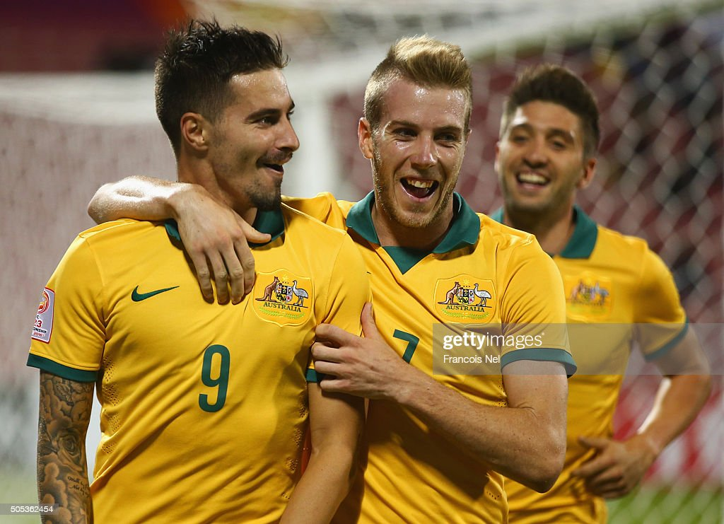Jamie Maclaren of Australia (9) celebrates with team mate Andrew Hoole (7) as he scores their second goal during the AFC U-23 Championship Group D match between Vietnam and Australia at Grand Hamad Stadium on January 17, 2016 in Doha, Qatar.
