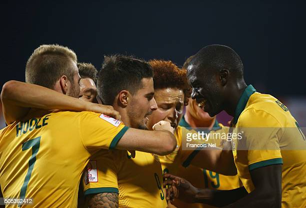Jamie Maclaren of Australia celebrates with team mates as he scores their second goal during the AFC U23 Championship Group D match between Vietnam...