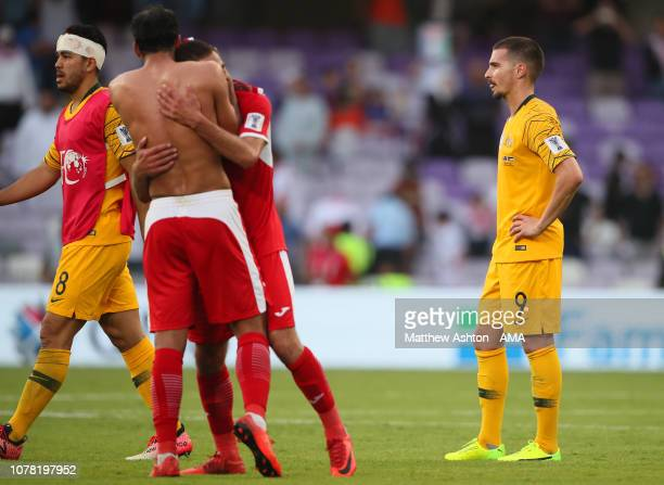 Jamie Maclaren of Australia looks dejected at the end of the AFC Asian Cup Group B match between Australia and Jordan at Hazza Bin Zayed Stadium on...