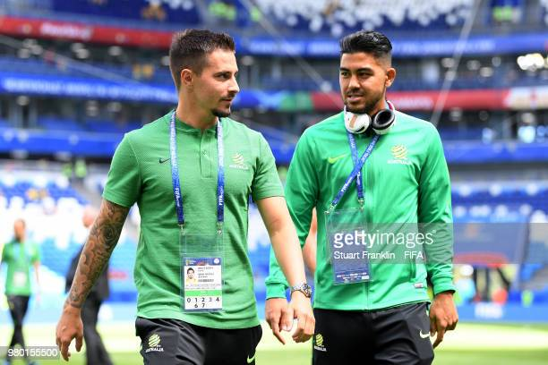 Jamie MacLaren of Australia speaks with Massimo Luongo of Australia during the 2018 FIFA World Cup Russia group C match between Denmark and Australia...