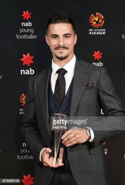 Jamie Maclaren of Brisbane Roar poses with the ALeague NAB Young Footballer of the Year award during the FFA Dolan Warren Awards at The Star on May 1...