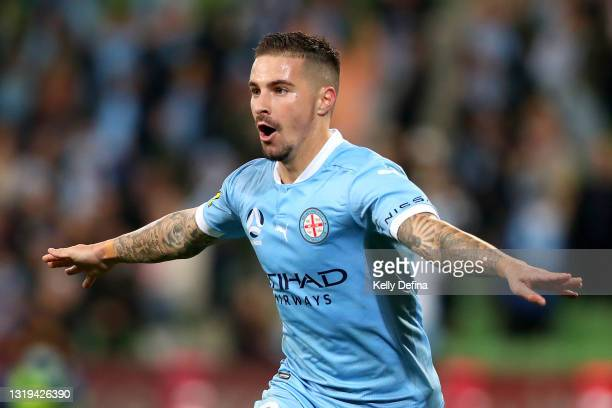 Jamie Maclaren of Melbourne City celebrates a goal which was subsequently disallowed during the A-League match between Melbourne City and Central...
