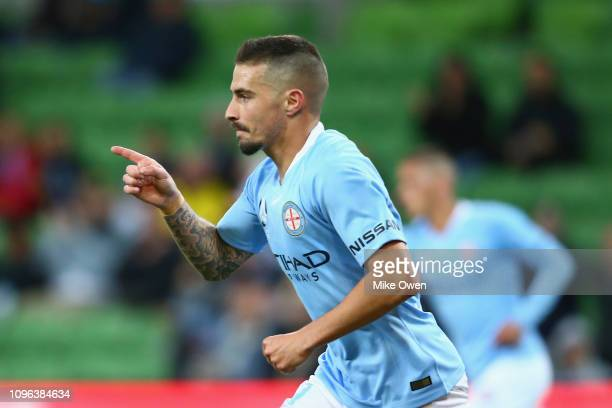 Jamie Maclaren of Melbourne City celebrates after scoring a goal during the round 18 ALeague match between Melbourne City and Adelaide United at AAMI...