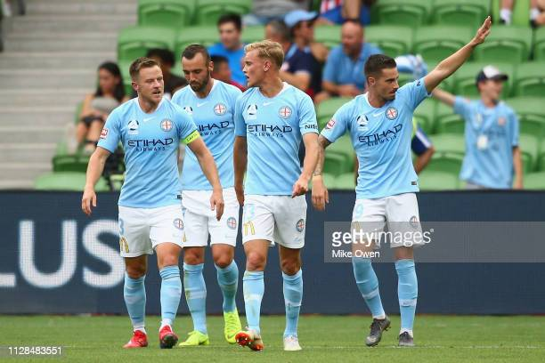 Jamie Maclaren of Melbourne City celebrates after scoring a goal during the round 21 ALeague match between Melbourne City and the Perth Glory at AAMI...