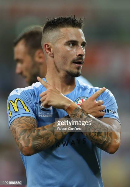Jamie MacLaren of Melbourne City celebrates after scoring a goal during the round 18 ALeague match between Melbourne City and Melbourne Victory at...