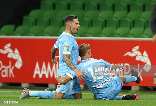 Jamie Maclaren of Melbourne City celebrates after scoring a goal during the A-League match between Melbourne City FC and the Western Sydney Wanderers...