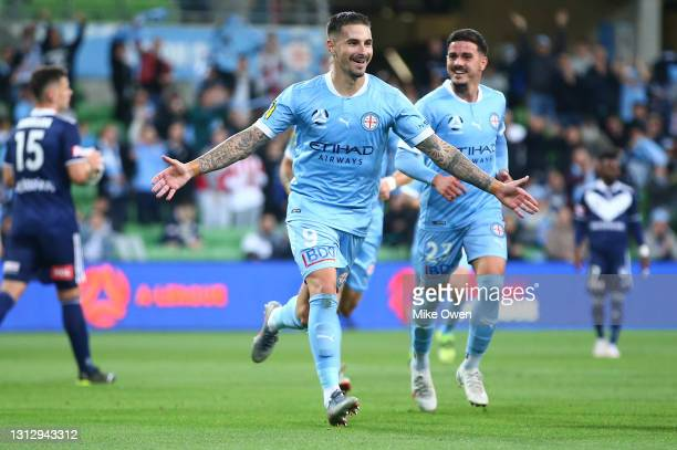 Jamie Maclaren of Melbourne City celebrates after scoring a goal during the A-League match between Melbourne City FC and the Melbourne Victory at...