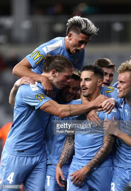 Jamie Maclaren of Melbourne City celebrates after scoring his teams first goal during the ALeague Semi Final match between Melbourne City and Western...
