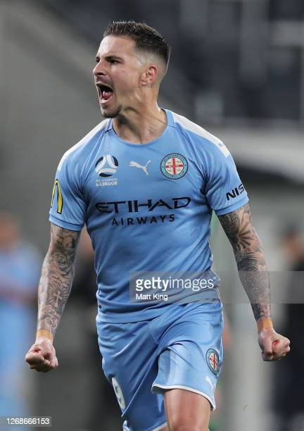 Jamie Maclaren of Melbourne City celebrates scoring a goal during the A-League Semi Final match between Melbourne City and Western United at Bankwest...