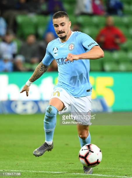 Jamie Maclaren of Melbourne City controls the ball during the round 18 A-League match between Melbourne City and Adelaide United at AAMI Park on...