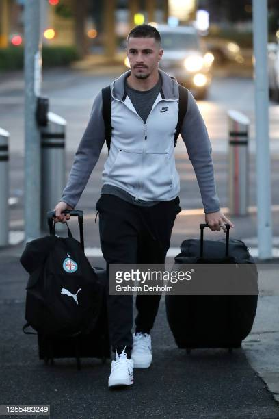 Jamie Maclaren of Melbourne City is seen preparing to board a bus to travel to Melbourne Airport at AAMI Park on July 11, 2020 in Melbourne,...