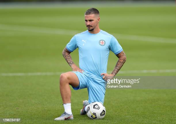 Jamie Maclaren of Melbourne City warms up during a Melbourne City A-League training session at City Football on January 14, 2021 in Melbourne,...