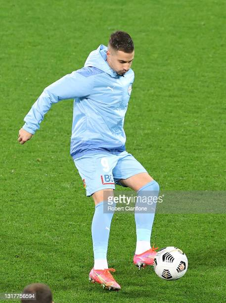 Jamie Maclaren of Melbourne City warms up prior to the A-League match between Melbourne City and Adelaide United at AAMI Park, on May 13 in...