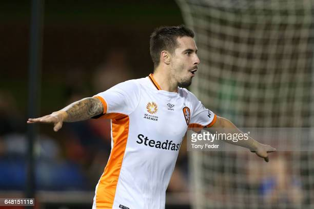 Jamie Maclaren of the Roar celebrates a goal during the round 22 ALeague match between the Newcastle Jets and the Brisbane Roar at McDonald Jones...