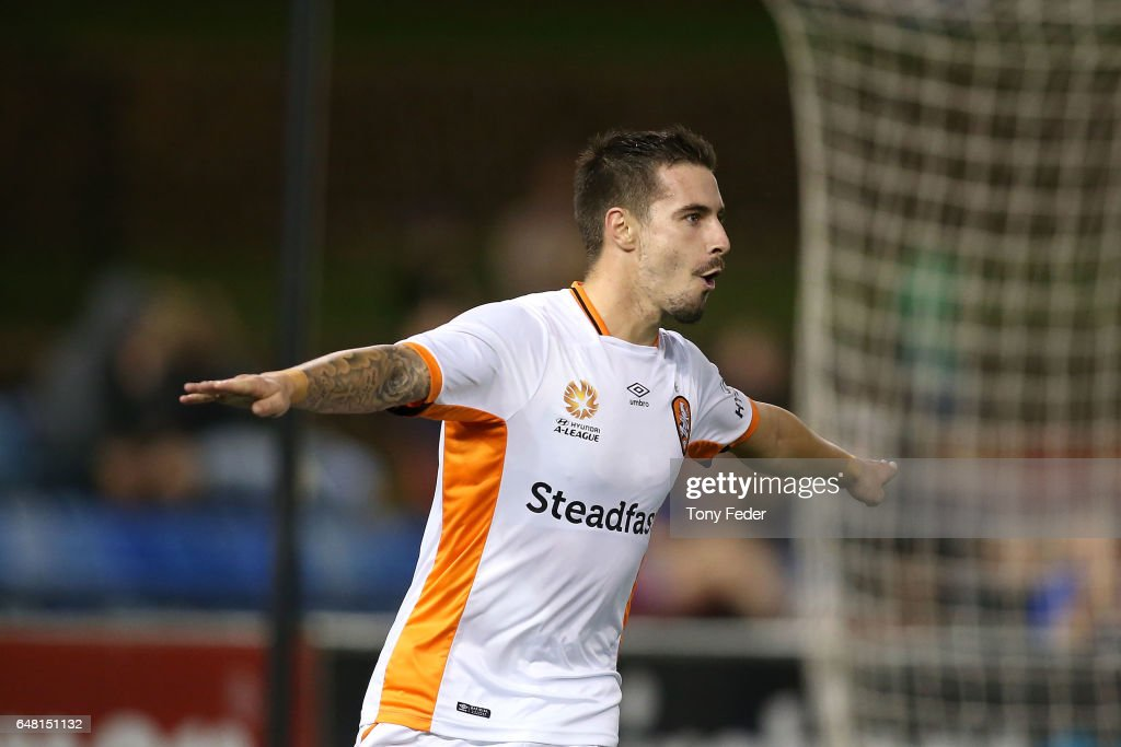 Jamie Maclaren of the Roar celebrates a goal during the round 22 A-League match between the Newcastle Jets and the Brisbane Roar at McDonald Jones Stadium on March 5, 2017 in Newcastle, Australia.