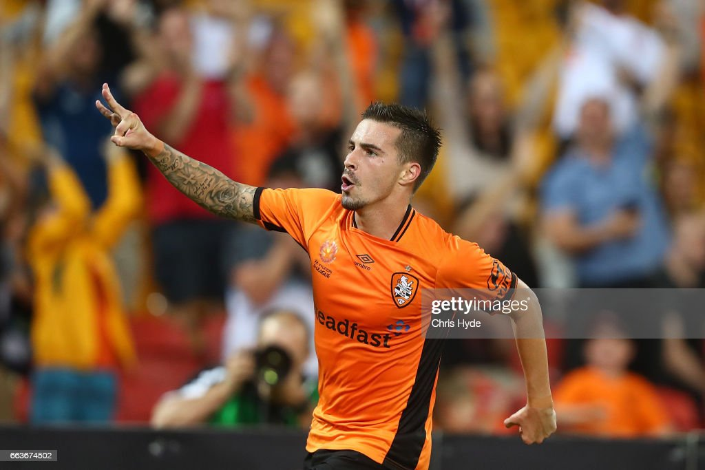 Jamie Maclaren of the Roar celebrates a goal during the round 25 A-League match between the Brisbane Roar and the Central Coast Mariners at Suncorp Stadium on April 2, 2017 in Brisbane, Australia.