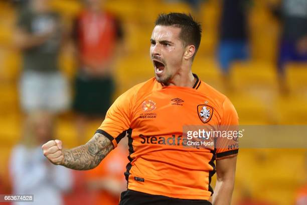 Jamie Maclaren of the Roar celebrates a goal during the round 25 ALeague match between the Brisbane Roar and the Central Coast Mariners at Suncorp...
