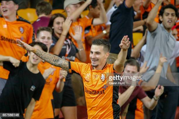 Jamie MacLaren of the Roar celebrates after scoring a goal during the round 24 ALeague match between Brisbane Roar and Melbourne Victory at Suncorp...