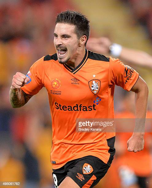 Jamie Maclaren of the Roar celebrates scoring a goal during the round four A-League match between Brisbane Roar and Adelaide United at Suncorp...