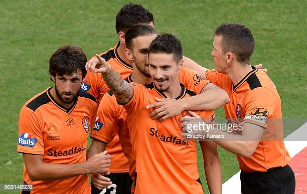 Jamie Maclaren of the Roar celebrates scoring a goal during the round 13 ALeague match between the Brisbane Roar and the Perth Glory at Suncorp...