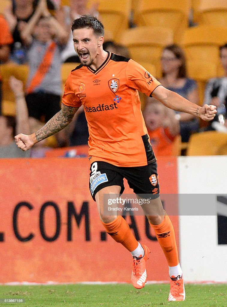 Jamie Maclaren of the Roar celebrates scoring a goal during the round 22 A-League match between the Brisbane Roar and the Western Sydney Wanderers at Suncorp Stadium on March 4, 2016 in Brisbane, Australia.