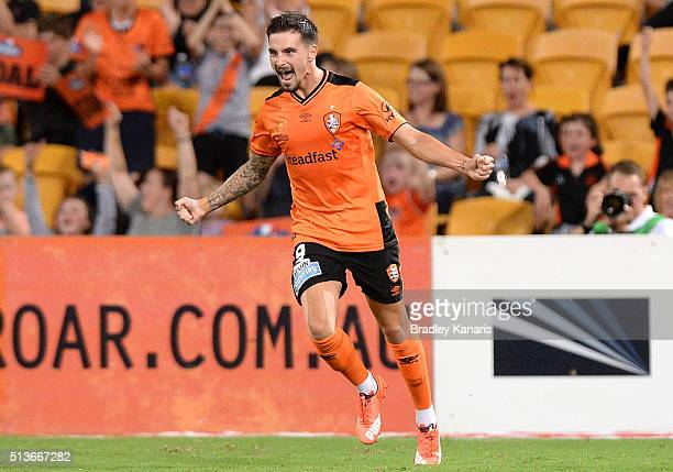 Jamie Maclaren of the Roar celebrates scoring a goal during the round 22 ALeague match between the Brisbane Roar and the Western Sydney Wanderers at...