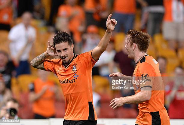 Jamie Maclaren of the Roar celebrates scoring a goal during the round 23 ALeague match between the Brisbane Roar and Melbourne Victory at Suncorp...