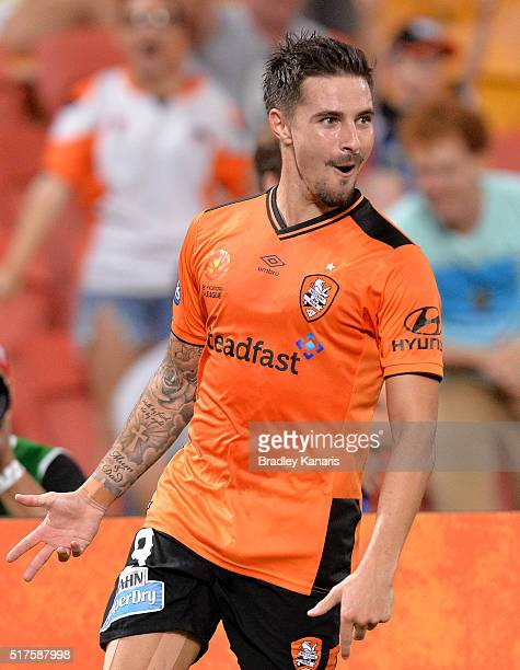 Jamie Maclaren of the Roar celebrates scoring a goal during the round 25 ALeague match between the Brisbane Roar and Sydney FC at Suncorp Stadium on...