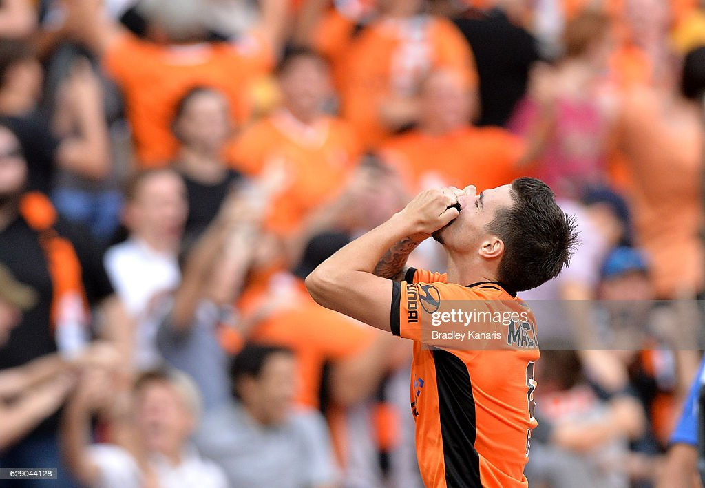Jamie Maclaren of the Roar celebrates scoring a goal during the round 10 A-League match between the Brisbane Roar and Adelaide United at Suncorp Stadium on December 11, 2016 in Brisbane, Australia.