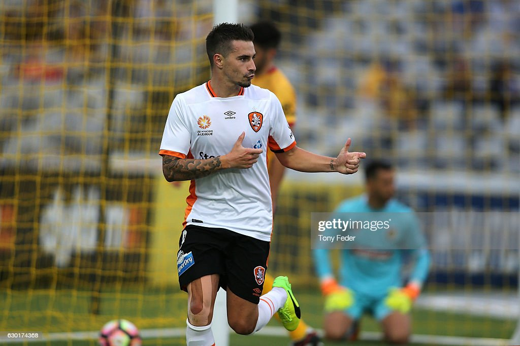 Jamie Maclaren of the Roar celebrates scoring a goal during the round 11 A-League match between the Central Coast Mariners and Brisbane Roar at Central Coast Stadium on December 18, 2016 in Gosford, Australia.