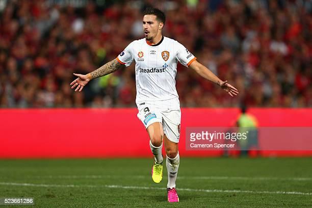 Jamie Maclaren of the Roar celebrates scoring a goal during the ALeague Semi Final match between the Western Sydney Wanderers and the Brisbane Roar...