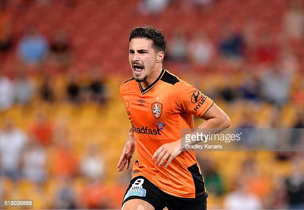 Jamie Maclaren of the Roar celebrates scoring his second goal during the round 23 ALeague match between the Brisbane Roar and Melbourne Victory at...