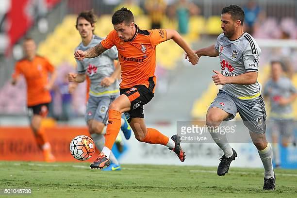 Jamie Maclaren of the Roar kicks during the round 10 ALeague match between the Brisbane Roar and the Wellington Phoenix at Cazaly's Stadium on...