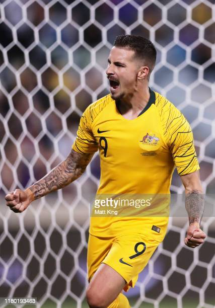 Jamie Maclaren of the Socceroos celebrates scoring the last goal during the FIFA World Cup Qatar 2022 and AFC Asian Cup China 2023 Preliminary Joint...