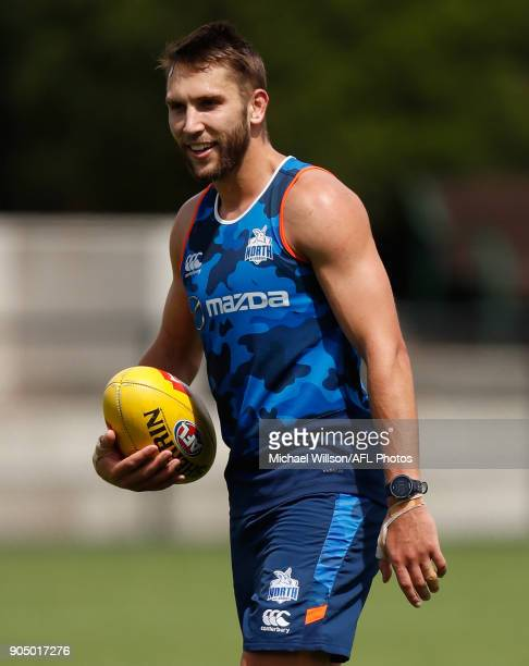 Jamie Macmillan of the Kangaroos in action during a North Melbourne Kangaroos Training Session at Arden Street Ground on January 15 2018 in Melbourne...